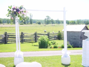 White arbor at farm