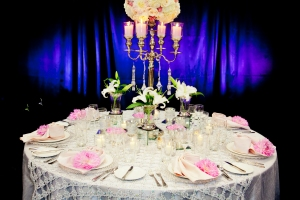 Silver linens and soft pink accents