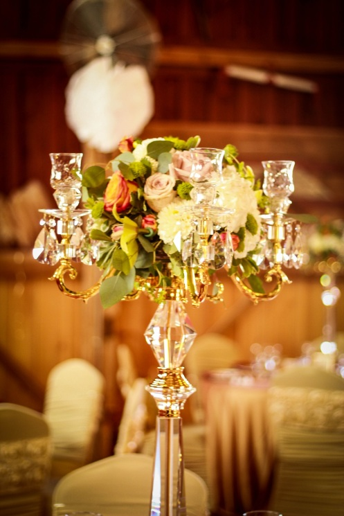 "36"" Tall Gold & Crystal Candelabras"