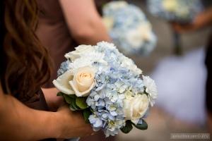 Blue Hydrangeas & ivory roses