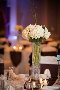 Tall centerpieces with hydrangea and curly willow.