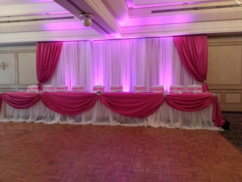 Pink Backdrop and Headtable with pink lighting.