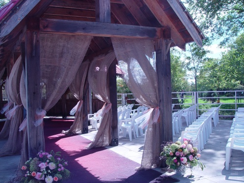 Gazebo draped with burlap.