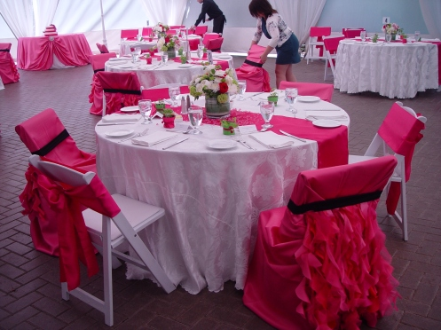 Alternating styes of chair covers - satin bands and full cover with skirt
