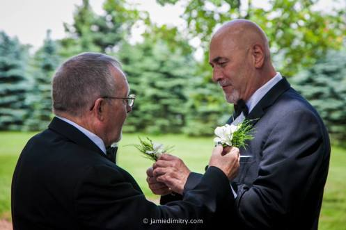 Pinning on the Boutonnieres