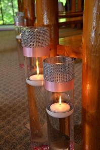 Candles accented in pink and bling.