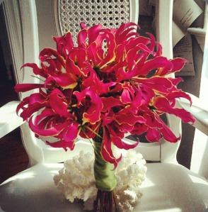Mono floral bouquet with red Gloriosa